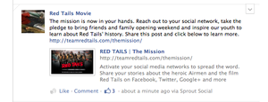 Red Tails Facebook Post